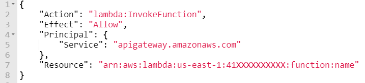 Example vulnerable Lambda function policy