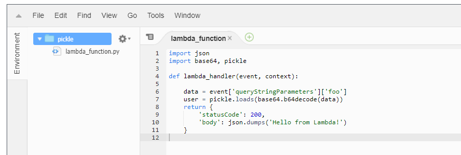 Example vulnerable Lambda function